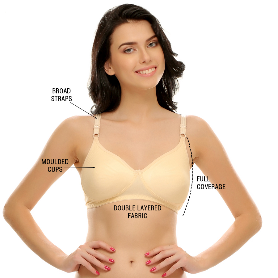 Buy Cotton Rich Full Support Plus Size T-shirt Bras in Beige Color ...