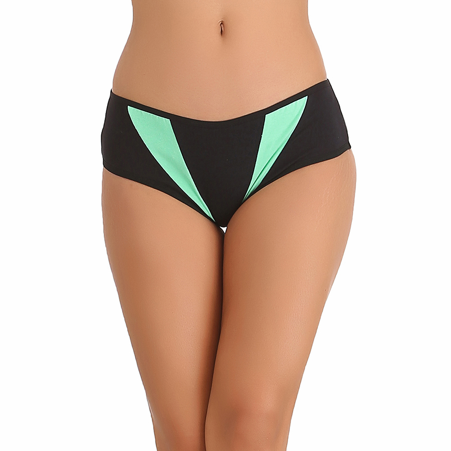 Green Cotton Spandex Bikini With Contrast Fabric In Front