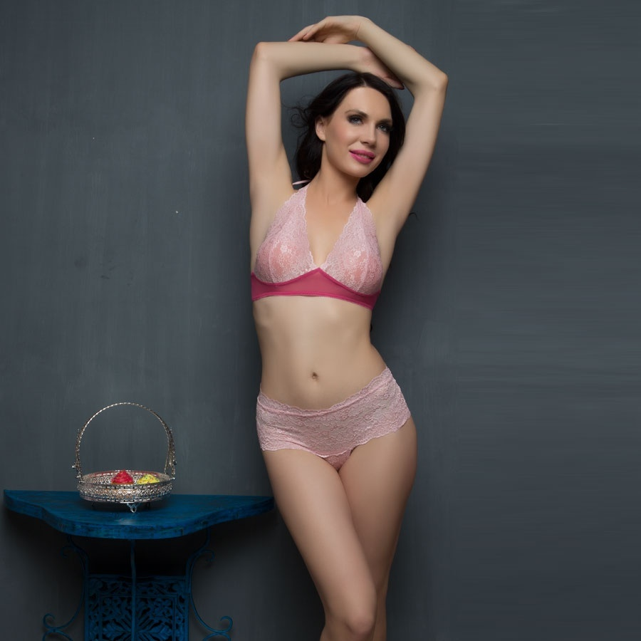 Lace Bra & Panty Set In Pink