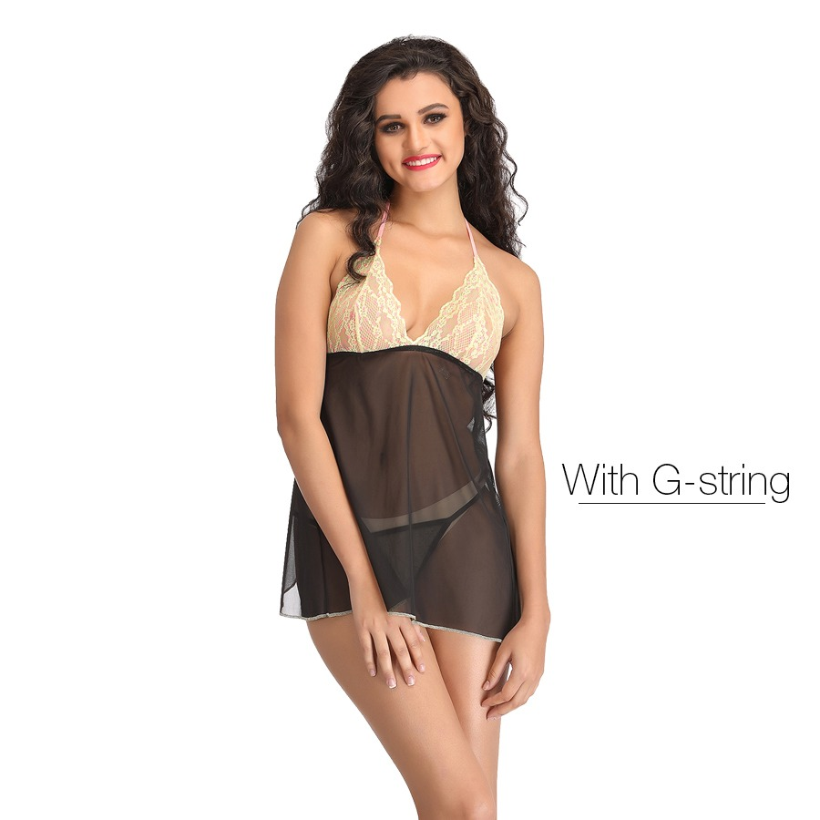 Lacy Cup Halter Neck Babydoll With Matching Thong - Black