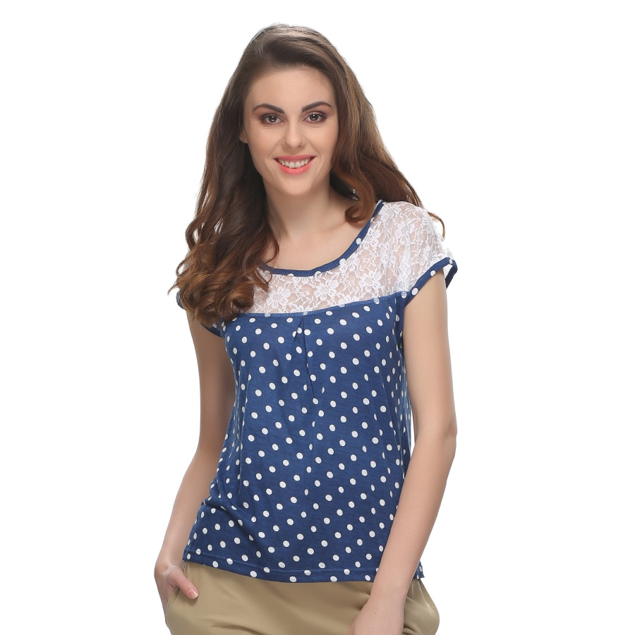 Cotton Polka Top In Blue With Lace Yoke