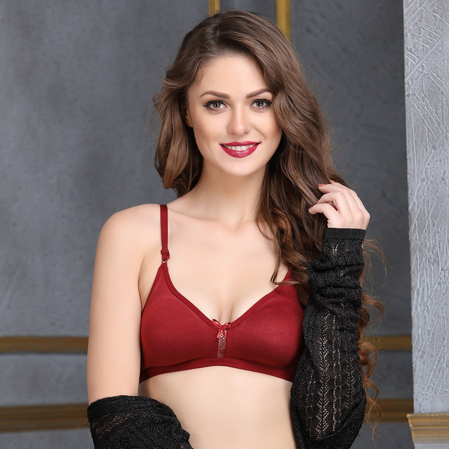 Maroon Cotton Non-Padded Non-Wired Bra With U Back