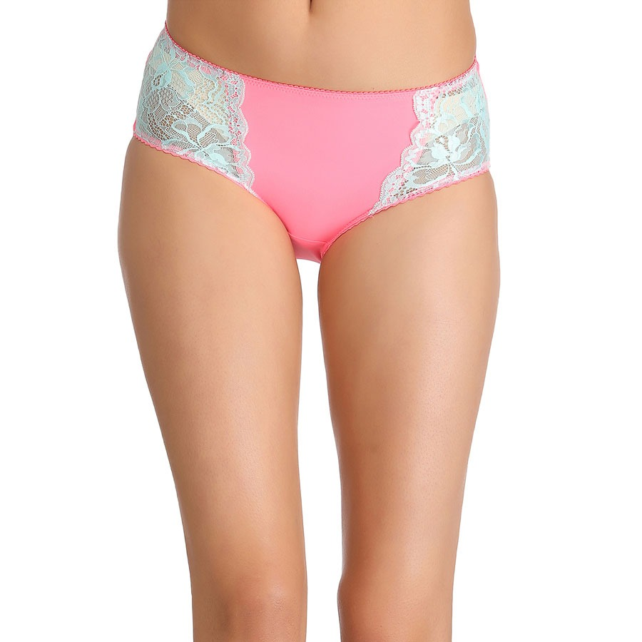 Mid Waist Hipster With Contrast Lace In Front - Pink