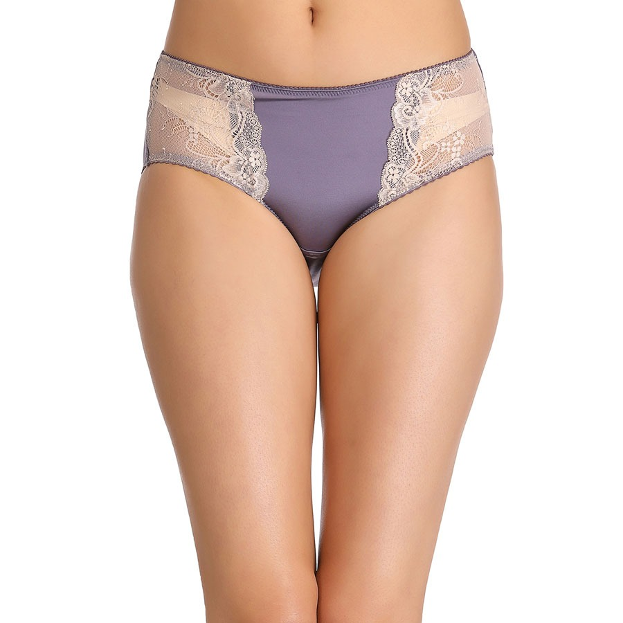 Mid Waist Hipster With Contrast Lace In Front - Purple