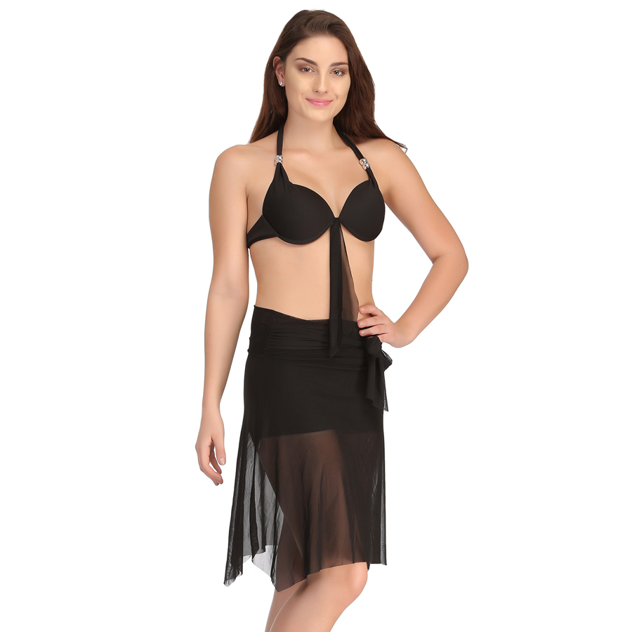 2 Pc Black Swimsuit Set With Matching Sarong