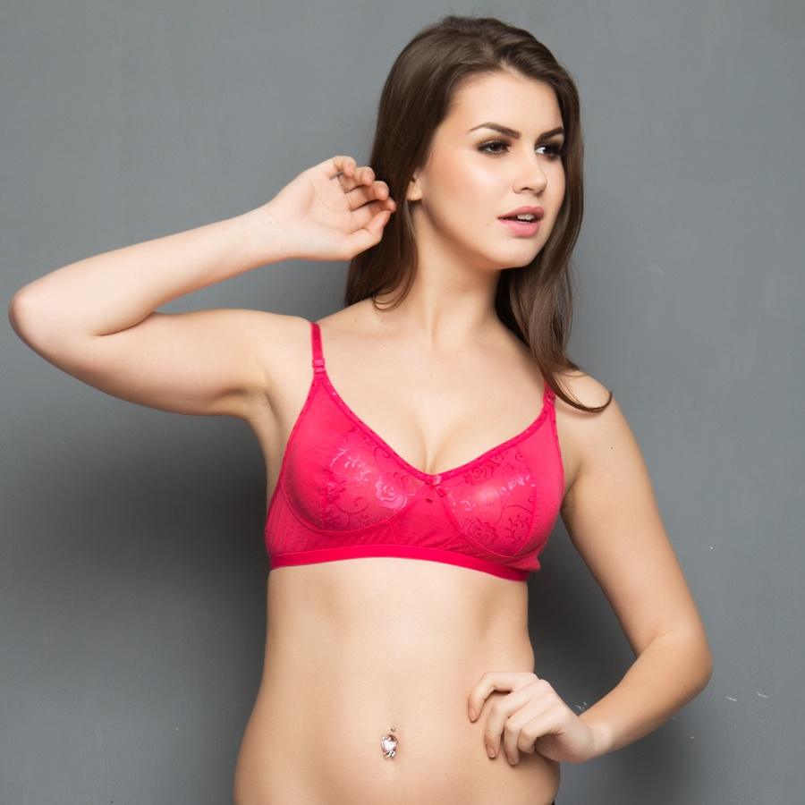 Cotton Rich Non-padded Bra With Lace In Hot Pink