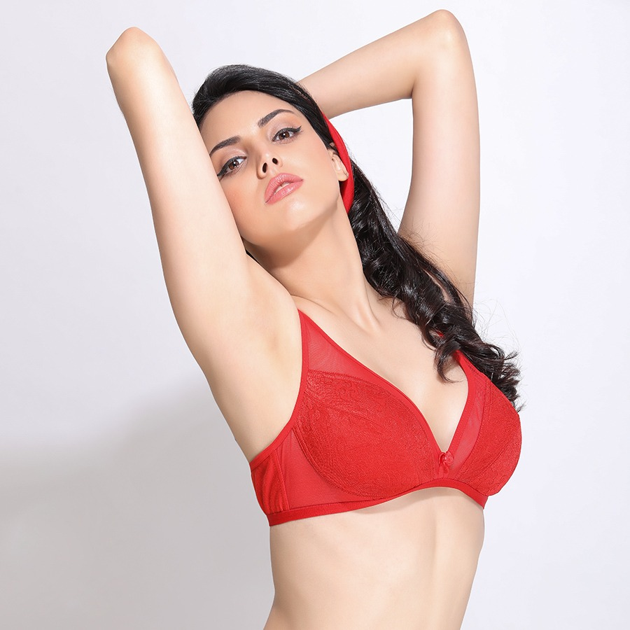 Non-Padded Non-Wired Demi Cup Plunge Neck Bra - Red