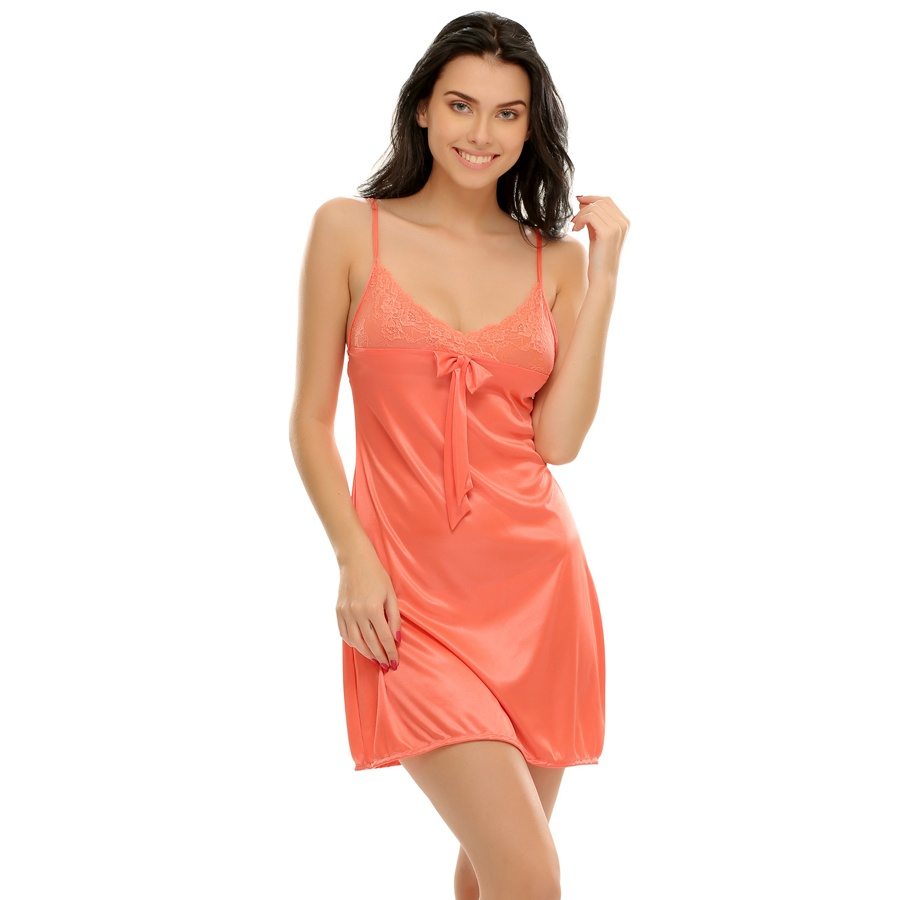 Sexy Short Nightdress In Coral With Laces
