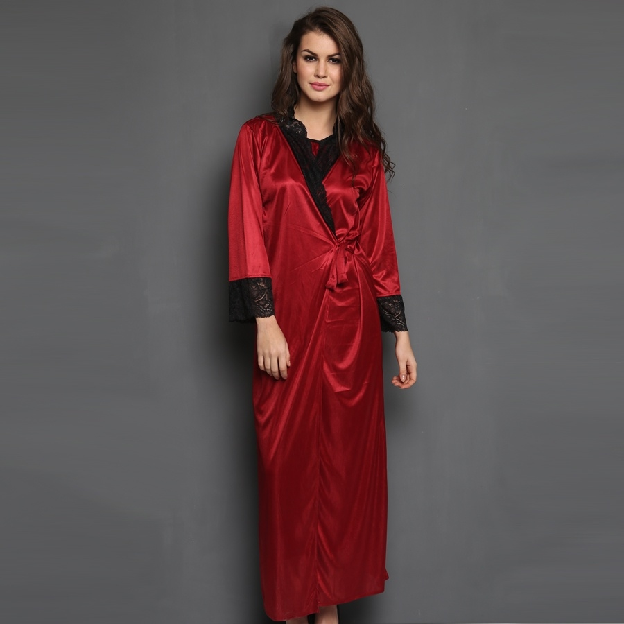 Satin & Lace Nightgown with Robe