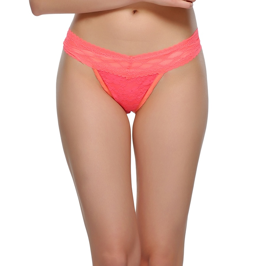All Over Lace Thong In Neon Pink
