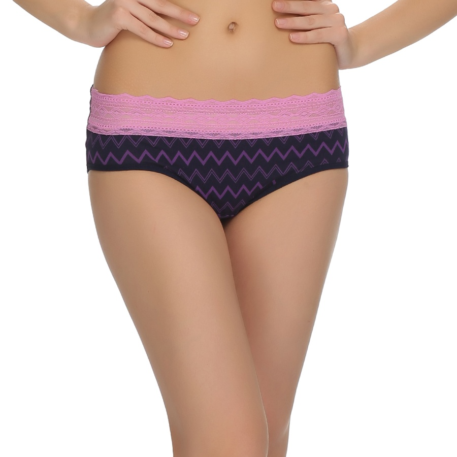 Printed Cotton Spandex Panty With In Purple With Lace