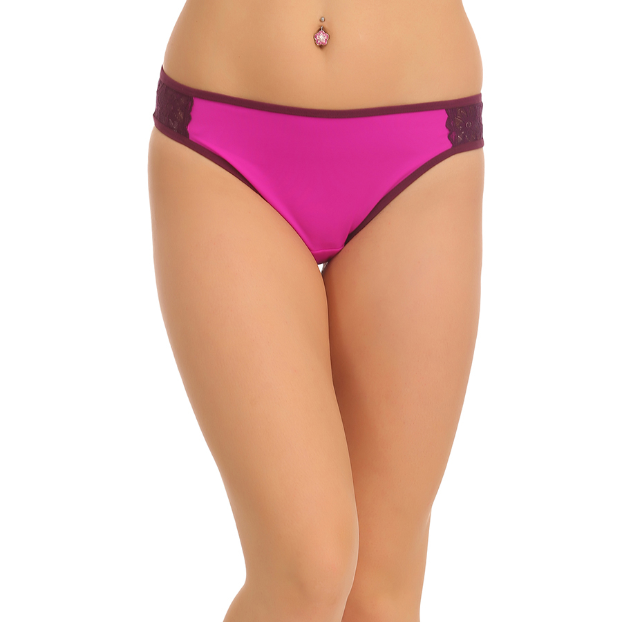 Polyamide & Lace Bikini Brief In Purple