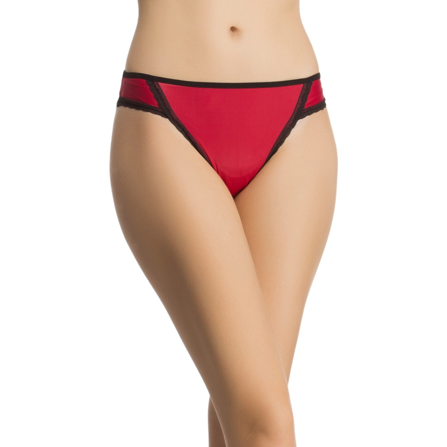 Bikini In Dark Red With Contrast Lacy Trims