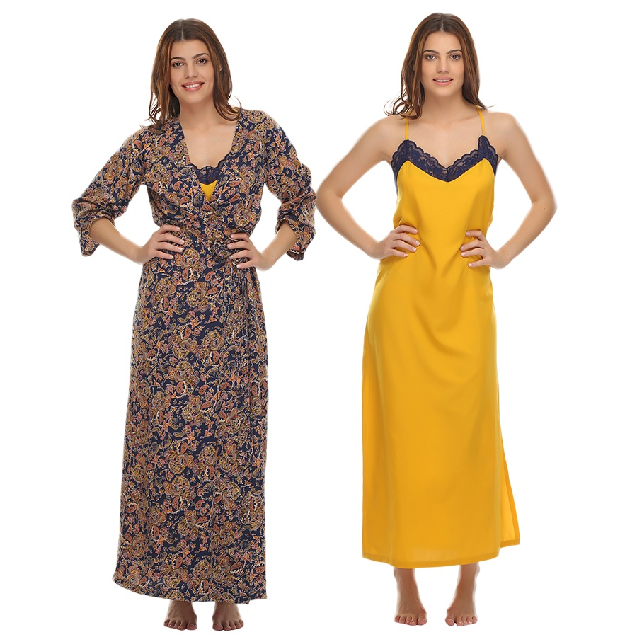 Printed Robe And Nighty Set