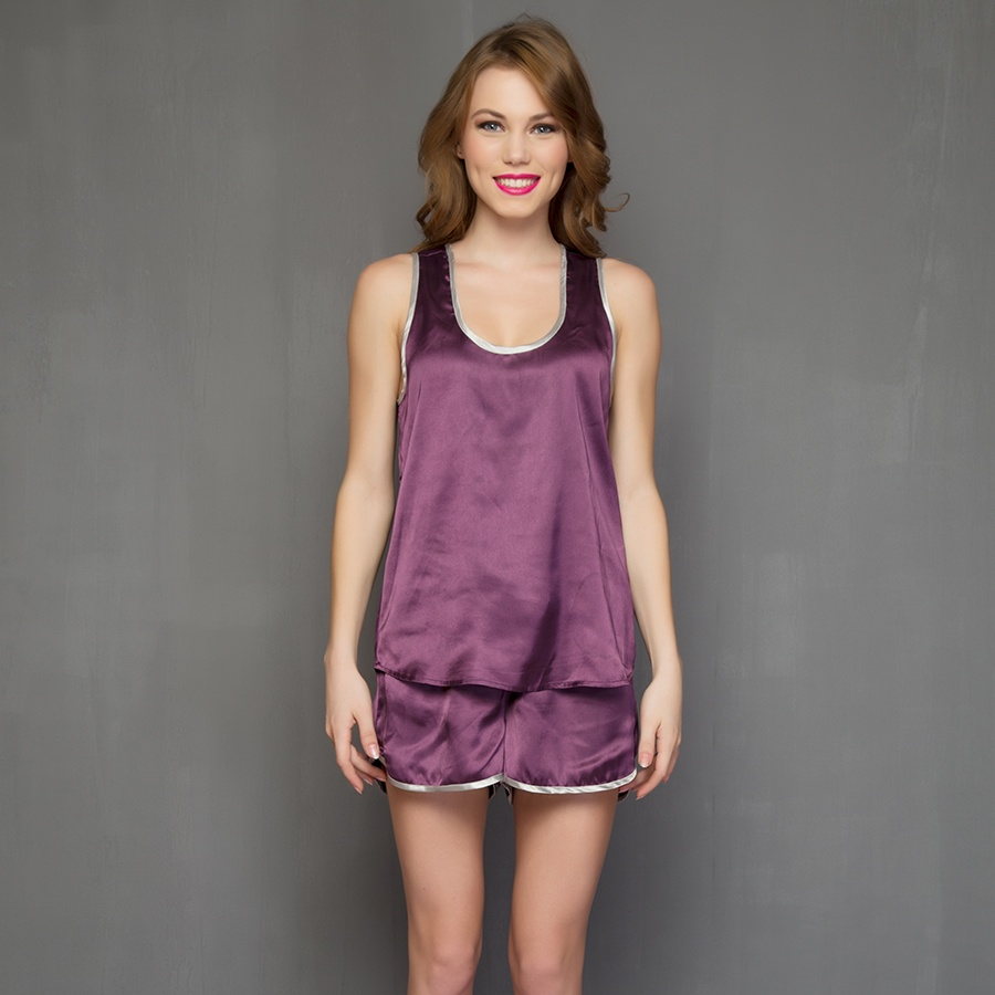 Purple Shorts And Cami In Satin