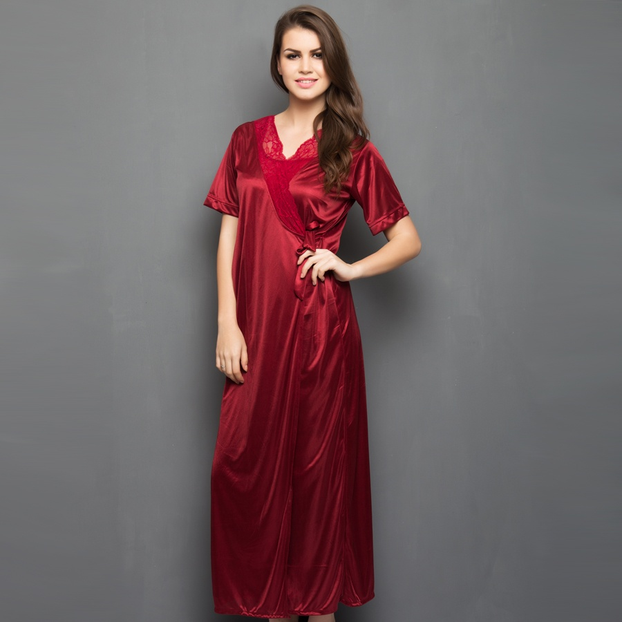 Satin Robe In Maroon