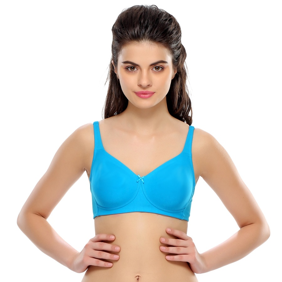 Buy Non Padded Moulded Cotton T Shirt Bra In Turquoise Online India Best Prices Cod Clovia