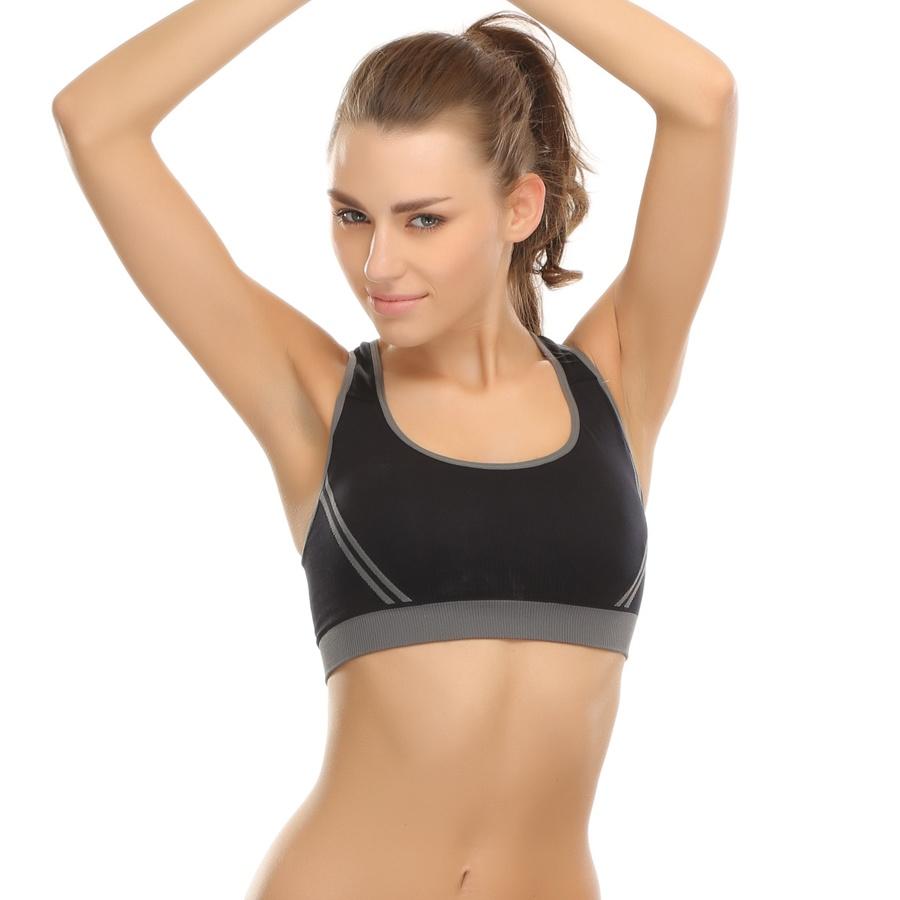 Buy Polyamide Seamless Sports Bra in Black with Cross Back Straps ...