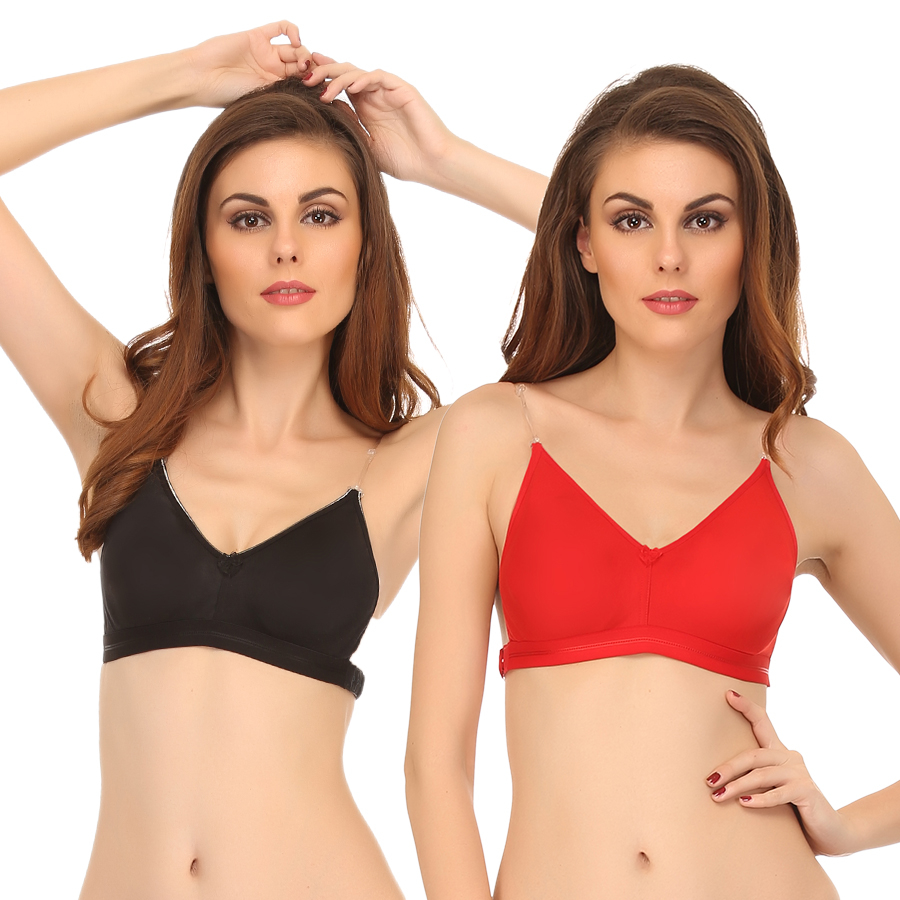 Set Of 2 Backless Multiway Cotton Bra - Multicolor