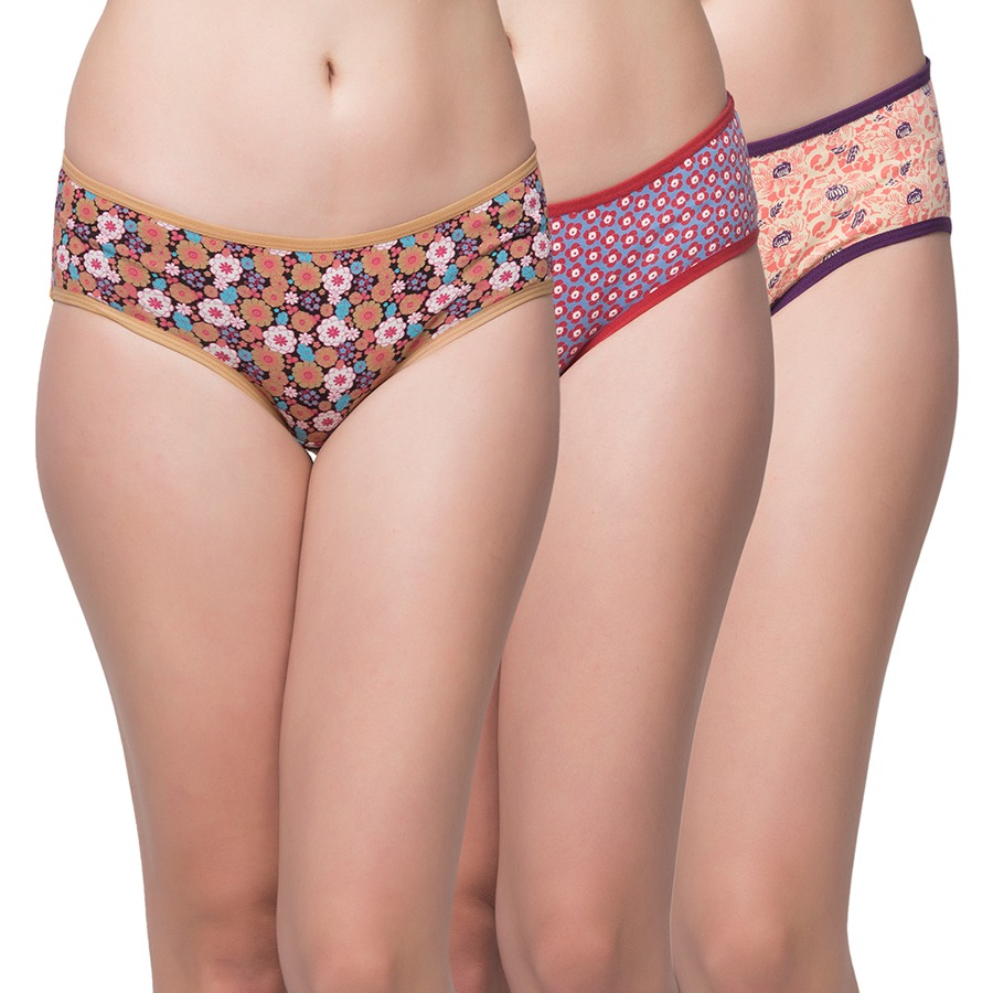 Set Of 3 Cotton Mid Waist Printed Hipster - Multicolor