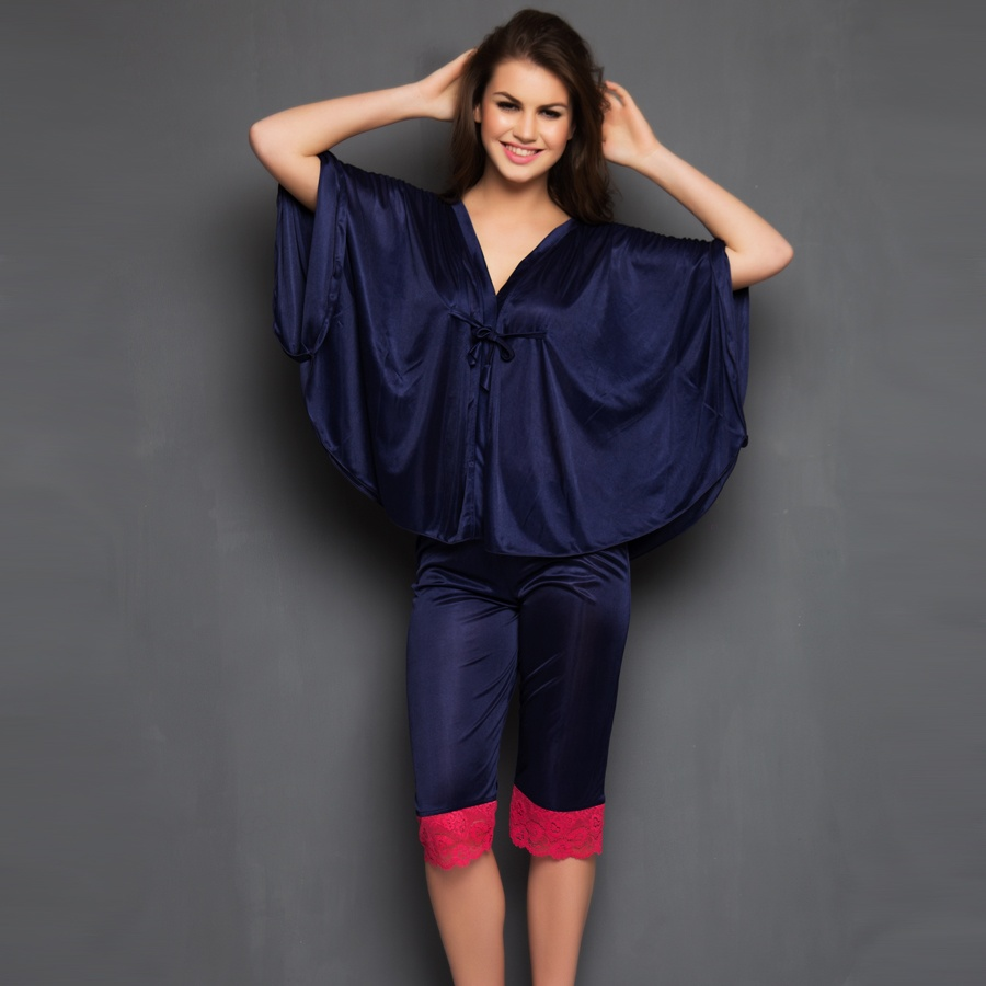 2 Pcs Satin Nightwear Set in Navy & Pink - Kaftan Top & Pyjama