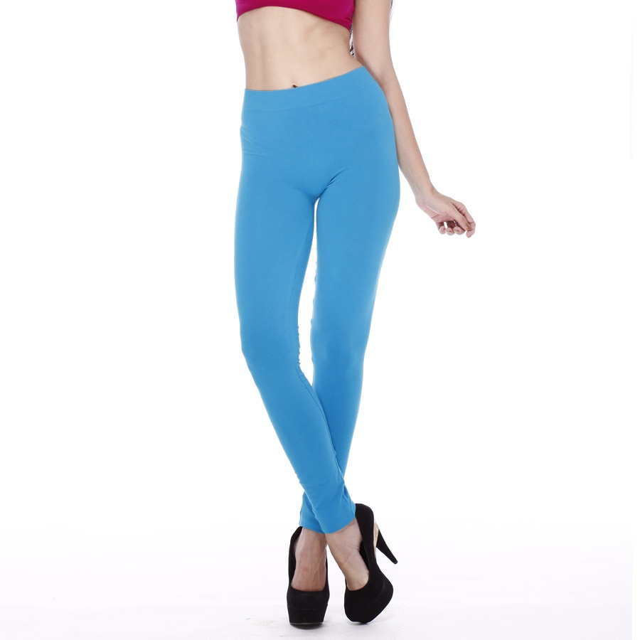 Seamless Plain Legging In Turquoise