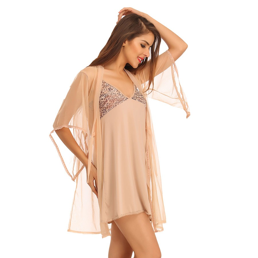 Short Nighty With Mesh Lacy Robe - Beige