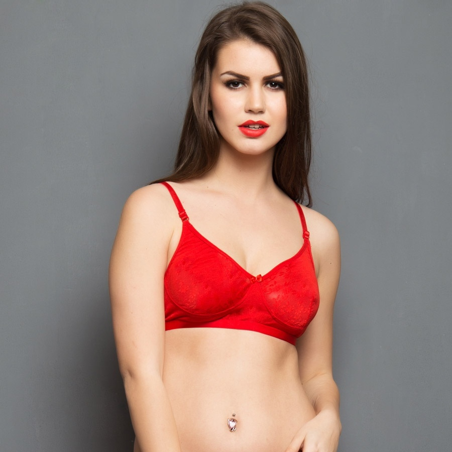 Cotton Rich Non-padded Bra With Lace In Red