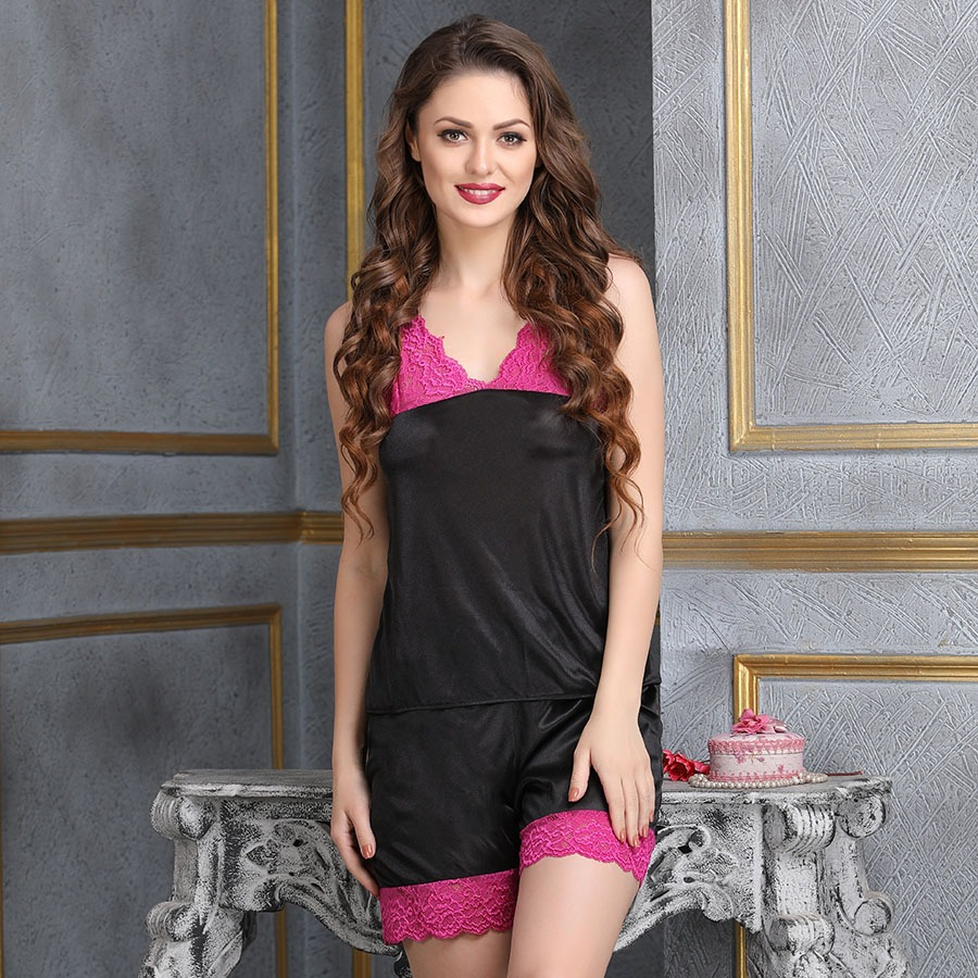 Sultry Satin Nightwear Set In Black and Hot Pink