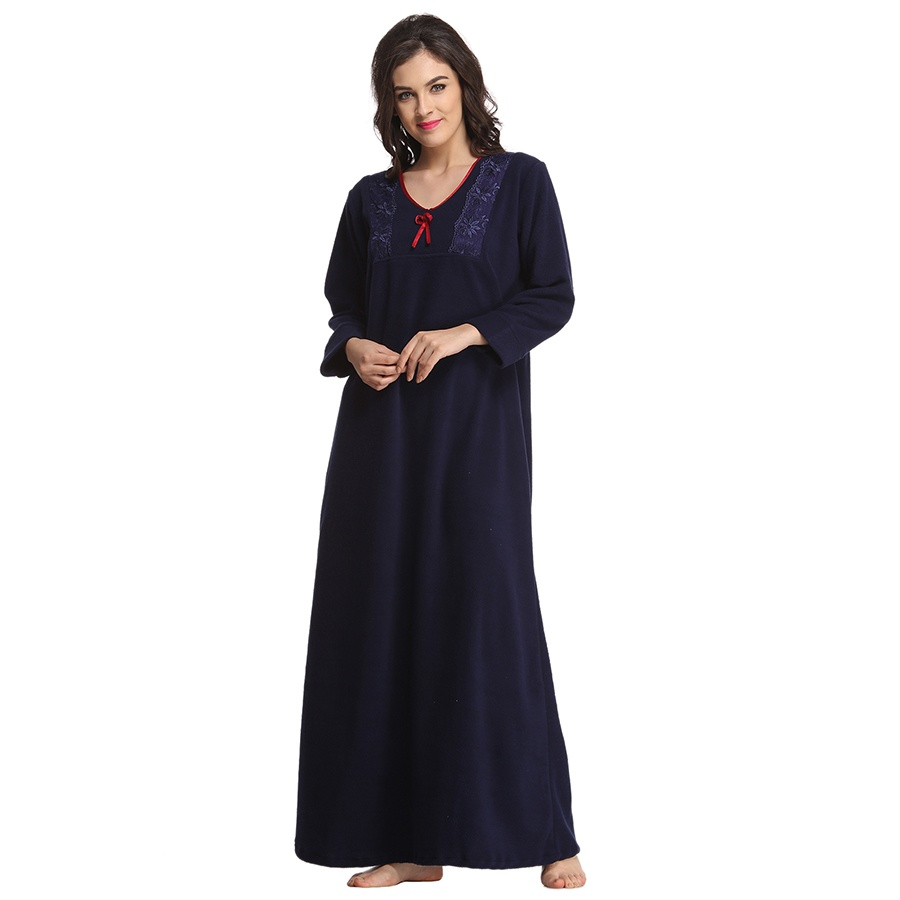 Winter Long Nightie In Navy