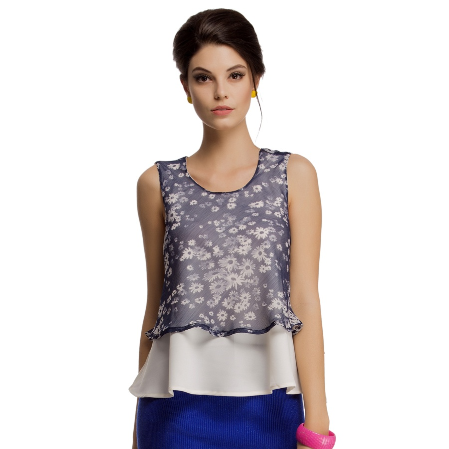 Layered Sleeveless Chiffon Crepe Top in Off White
