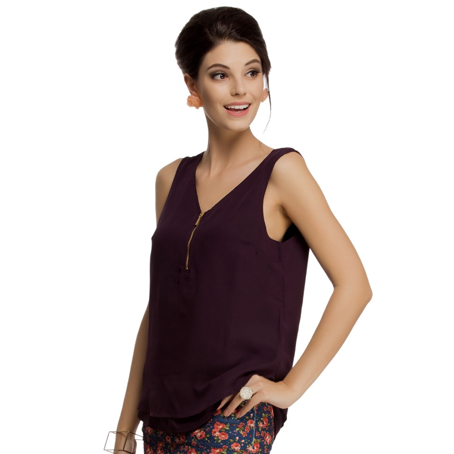 Layered Sleeveless Georgette Top in Purple