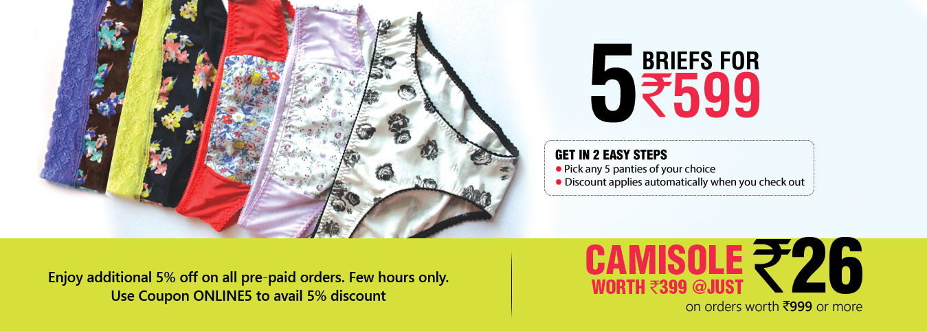 5 Panties Set at Rs.599