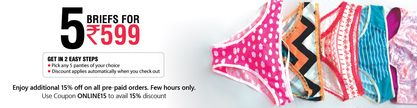 Clovia: 5 Panties @ Rs.599/- + Extra 15% OFF on Prepaid Orders